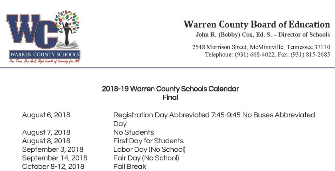 18-19 Warren County Schools, TN Calendar