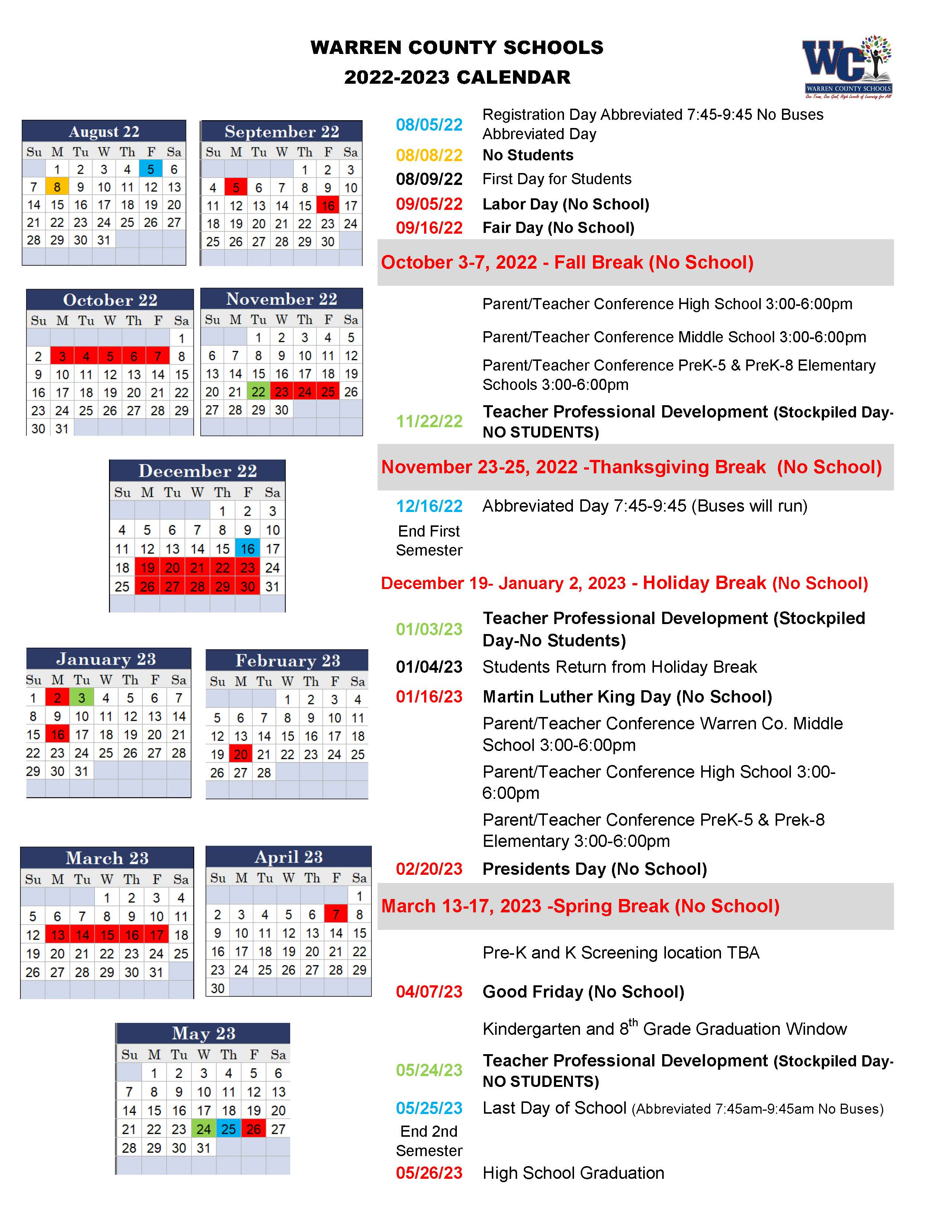 Wcs Calendar 2022.All News Warren County Schools
