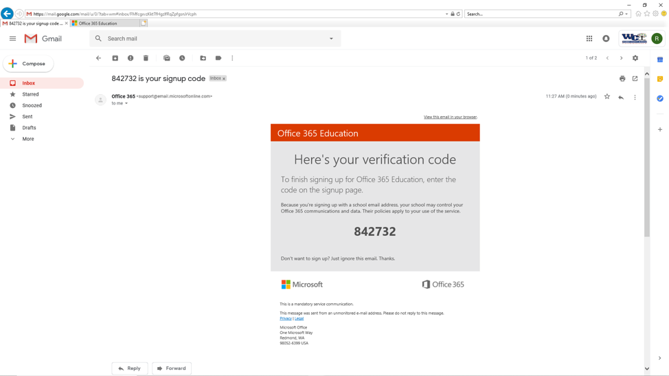 Office 365 signup code screenshot